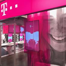 Telekom próbaüzlet dekorációja Varsóban